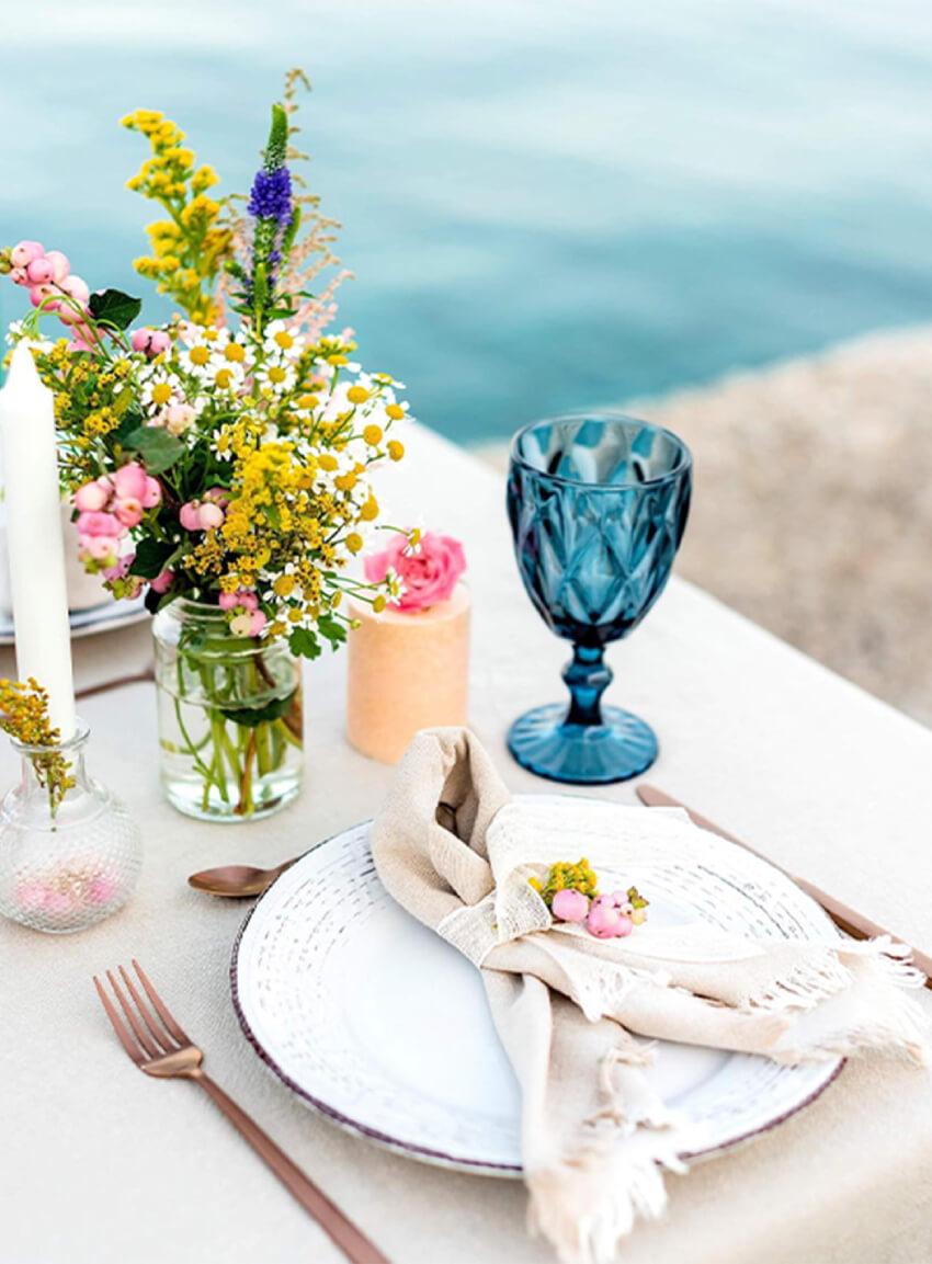 creative mediterranean wedding dinner setting by destination wedding planner eventions