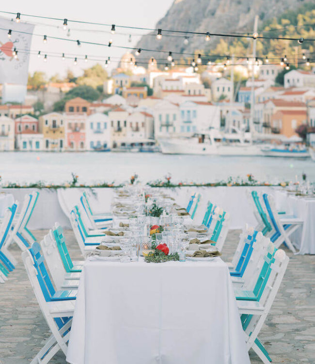 Destination wedding in Greece - Wedding Planner in Rhodes - lindos weddings - destination wedding in Kastelorizo dinner setting