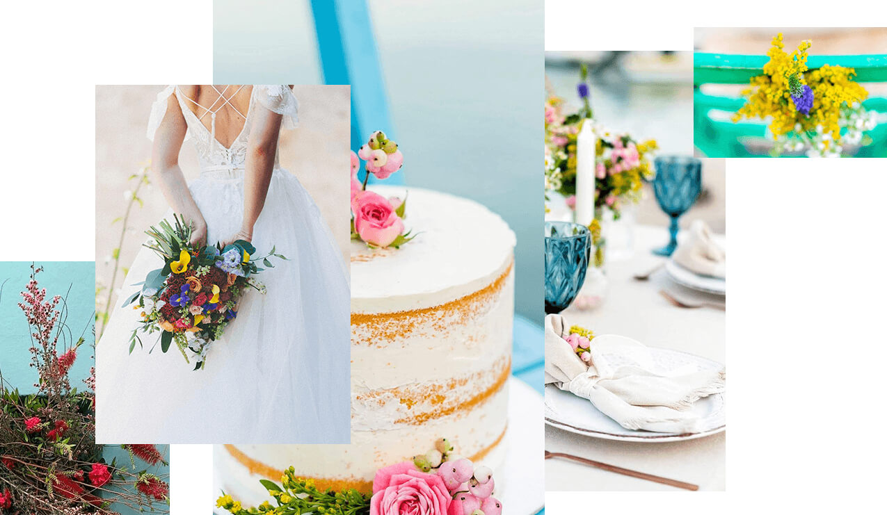 eventions destination wedding planners in Greece - wedding collage with wedding cake and colourful shades