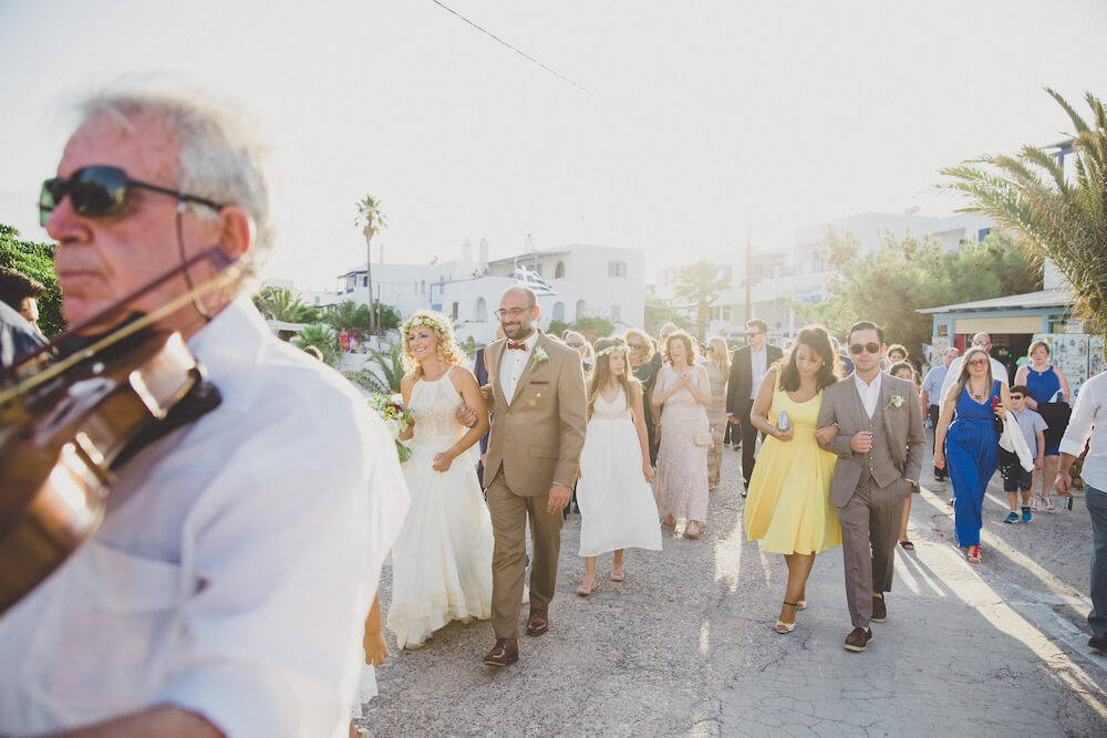 kithira wedding party going to the church - Destination wedding in Greece - Wedding Planner in Rhodes