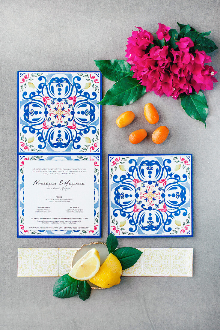 Mediterranean wedding invitations inspired by Portuguese tiles for a destination wedding in Greece by eventions wedding planners