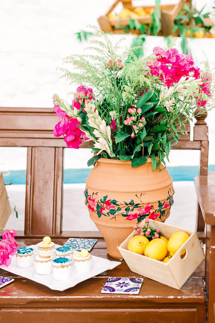 Colourful Mediterranean wedding dessert table -Destination wedding in Greece - Wedding Planner in Rhodes -