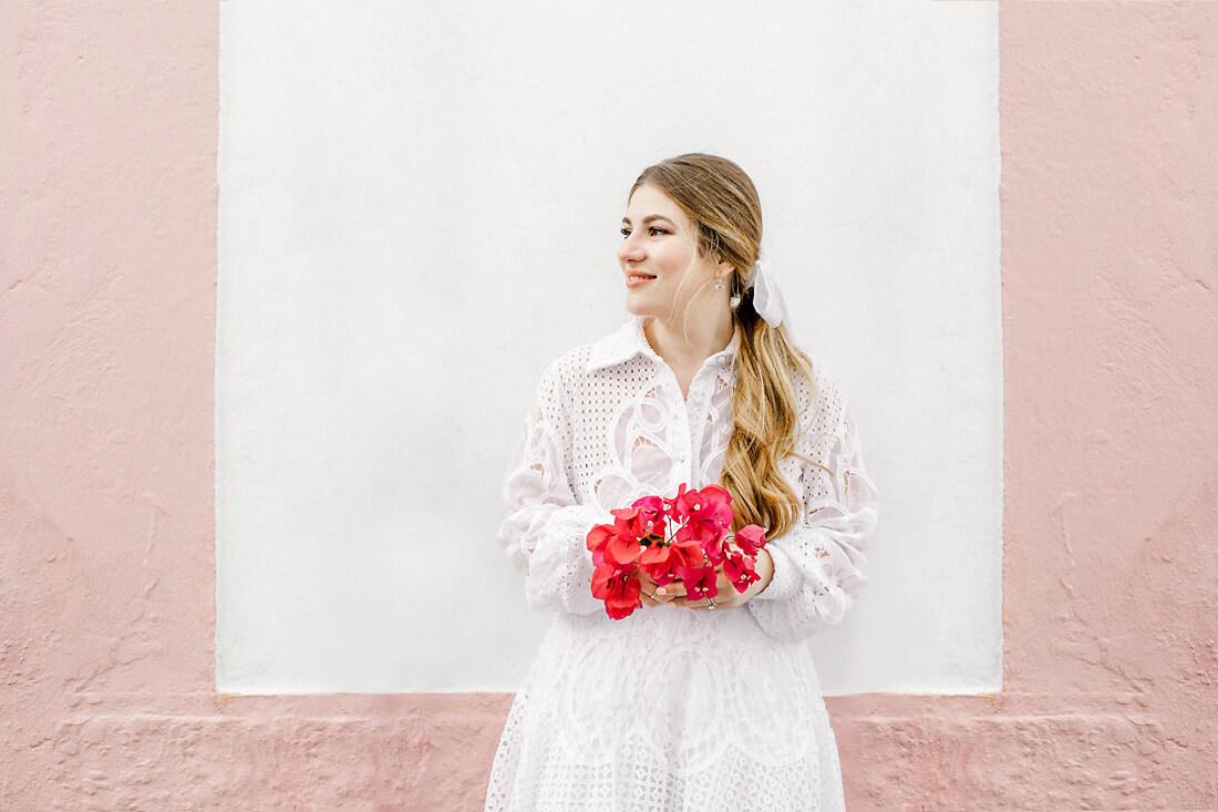 Destination wedding in Greece - Wedding Planner in Rhodes - bougainvillea wedding bouquet and a costarellos wedding dress