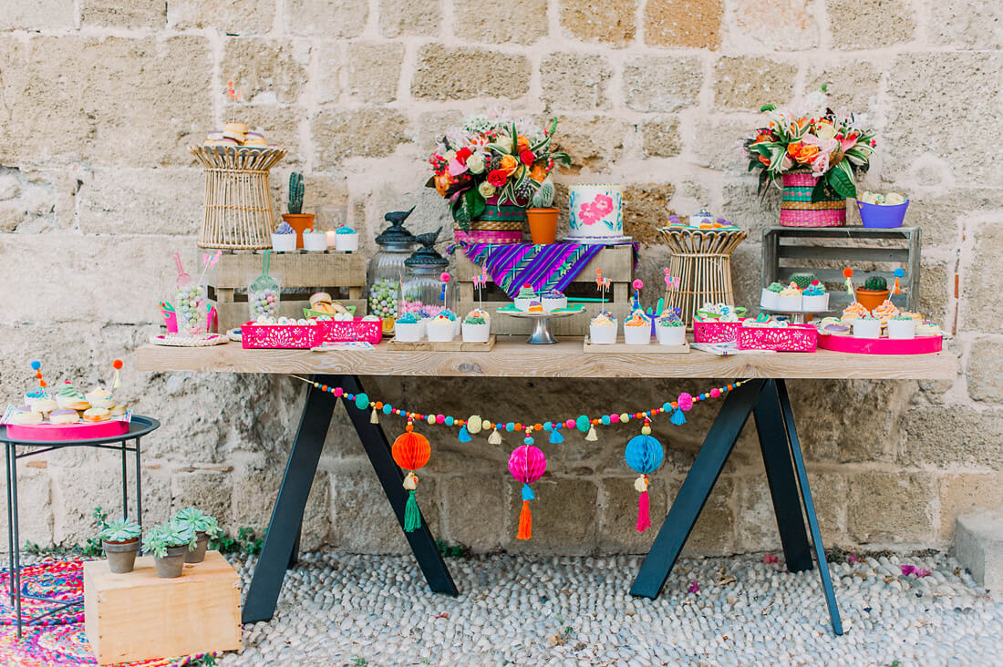 autumn colorful baptism ideas for a destination event in Rhodes, Greece