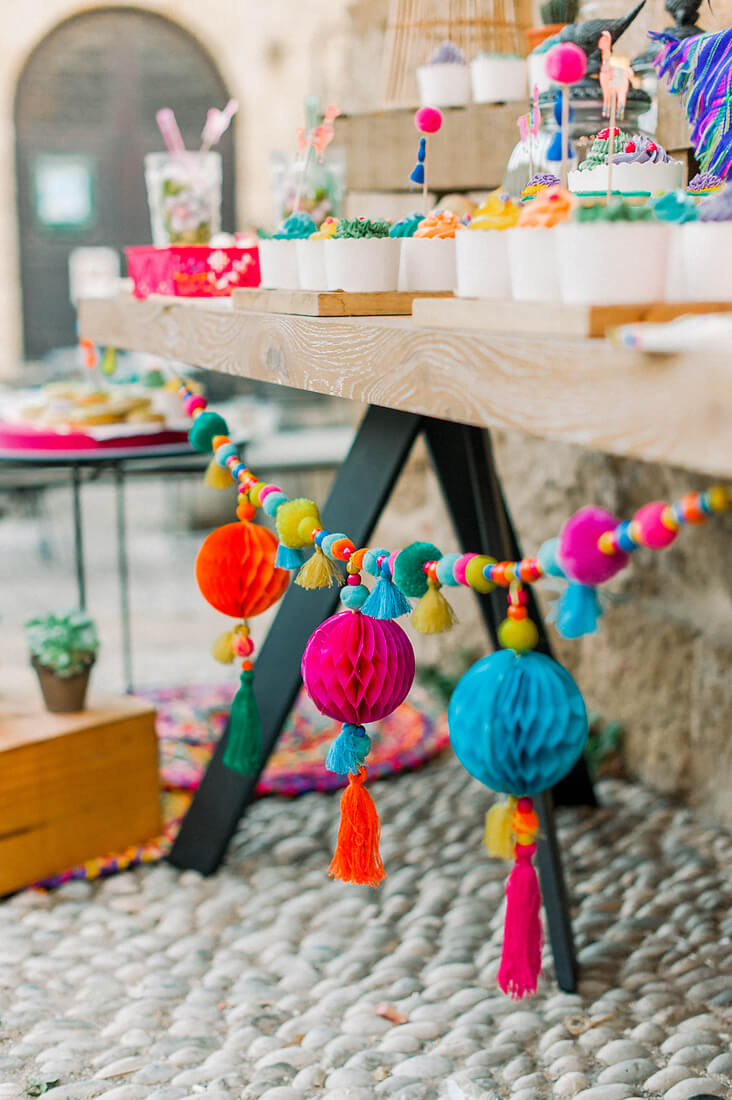 Colourful party decorations for a destination event in Rhodes greece by eventions