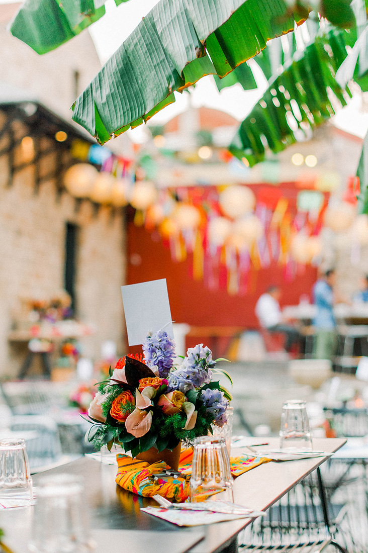 Destination wedding in Greece - Wedding Planner in Rhodes - colourful wedding dinner setting by eventions
