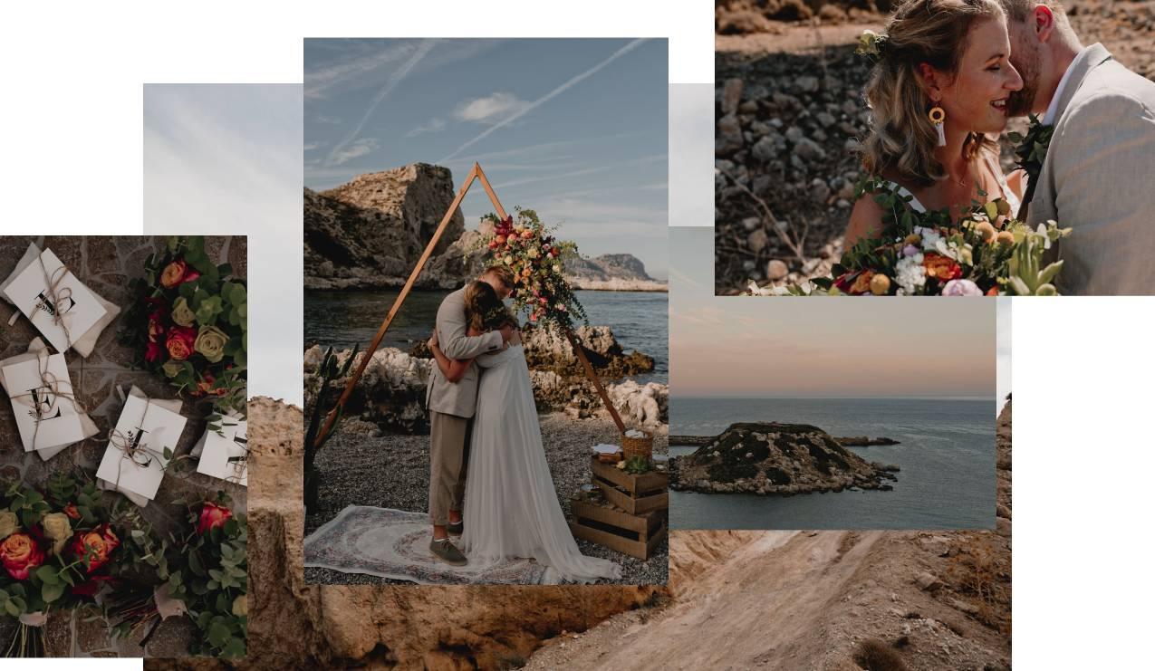 Boho wedding collage by destination wedding planner in Rhodes Eventions