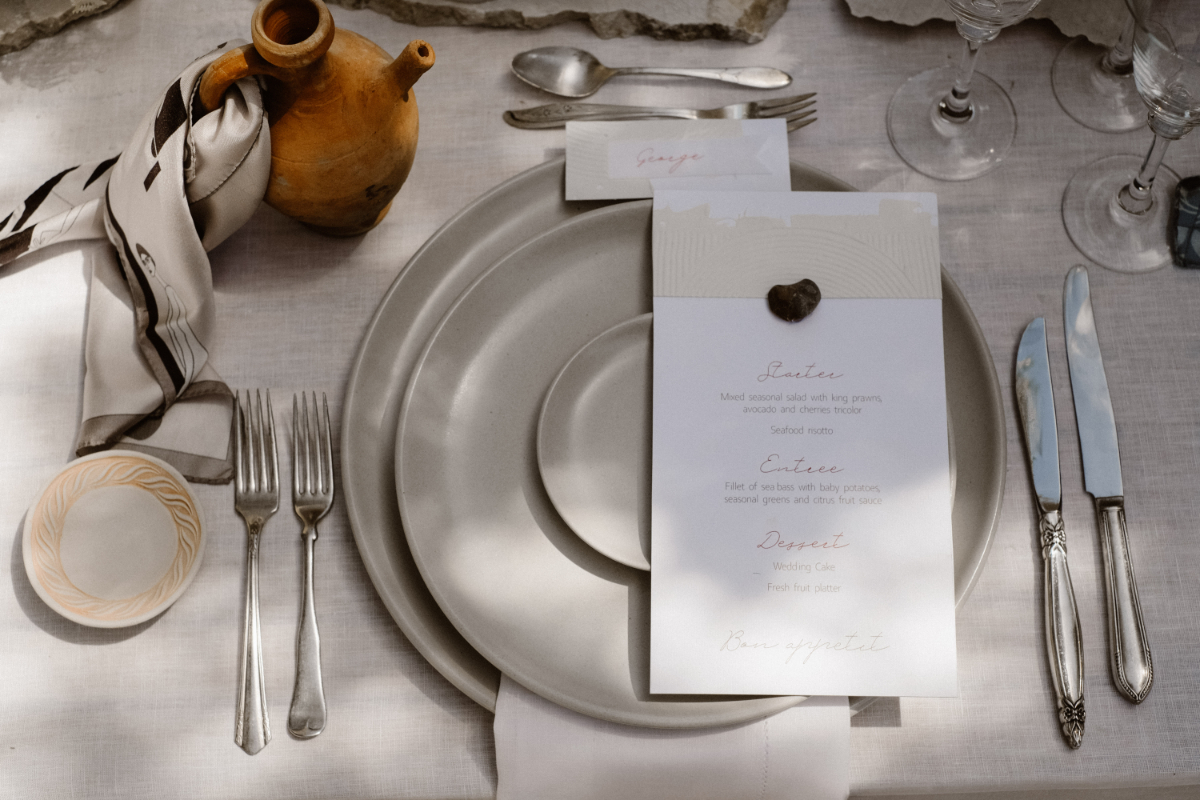 monochromatic Mediterranean wedding - wedding planner in Rhodes - grey and beige wedding table setting