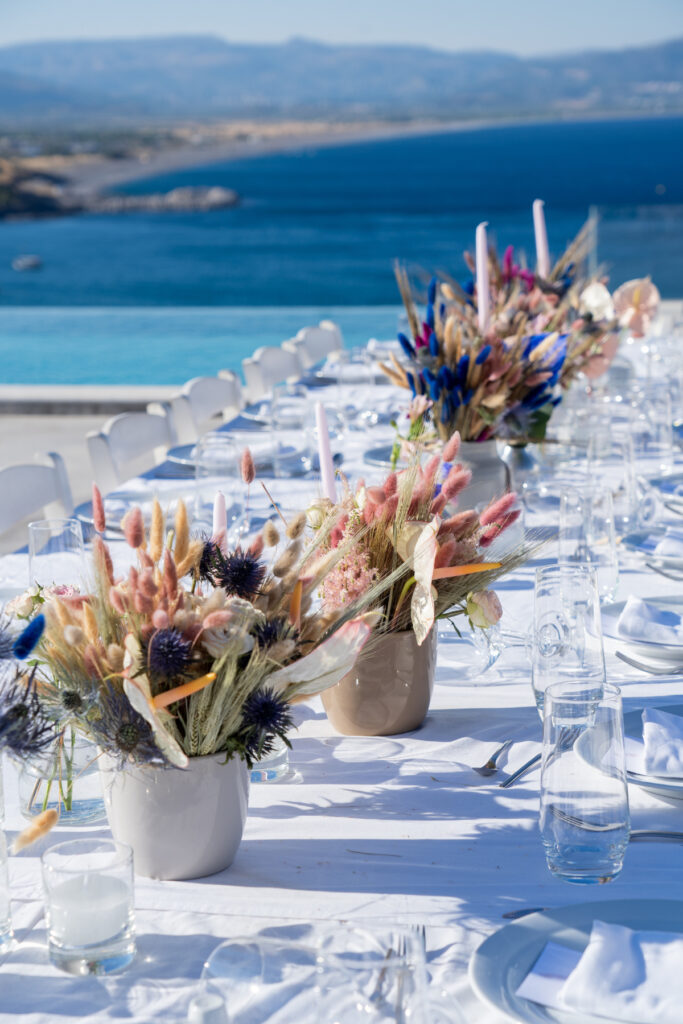 wedding planner in Rhodes - creative wedding table setting for a destination wedding in Rhodes